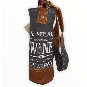 Clea Ray Recycled Canvas and Leather Wine Bag